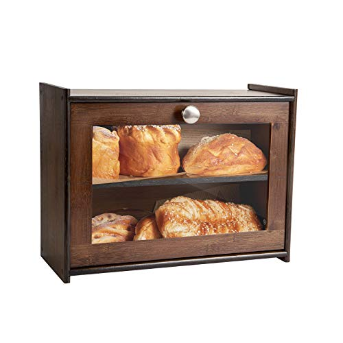 COMELLOW Bread Box for Kitchen Countertop, Bamboo Storage Box with 2 Adjustable Layer, Wooden Bread Box with Acrylic Glass Window, Bread Storage Bin for Kitchen(Self-Assembly)