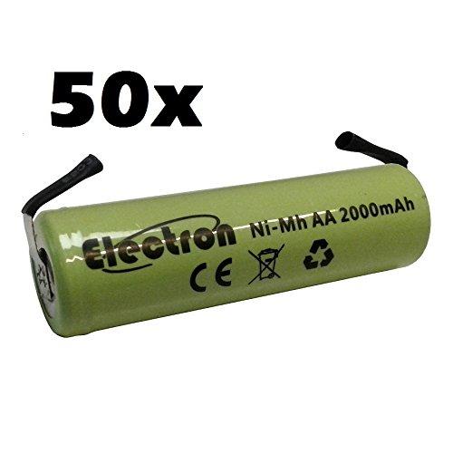50 x Ni-Mh Stilo accu AA 1,2 V 2000 mAh met soldeerbout voor batterijen