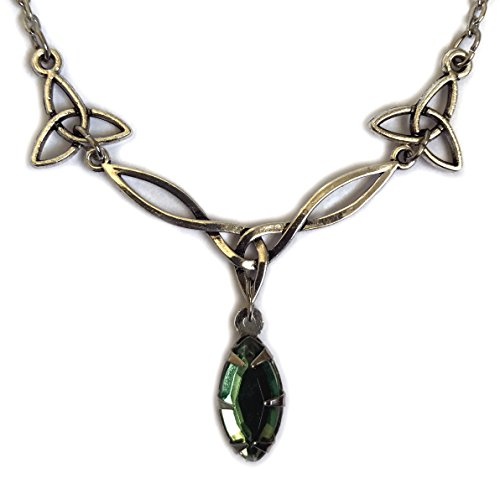 Celtic Triquetra Trinity Knot Silver Necklace Light Green
