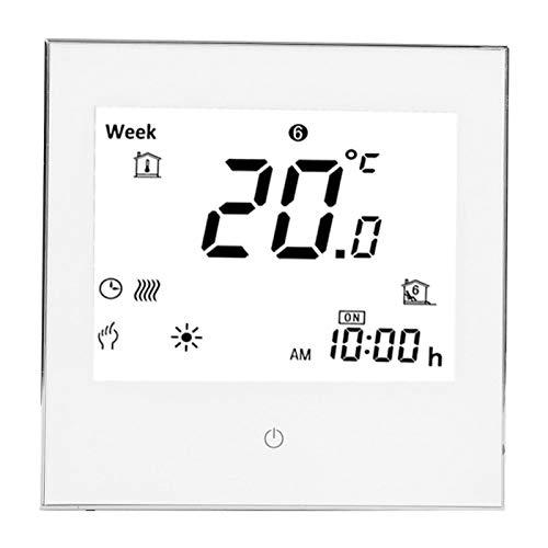 0-45 ℃ 1 ° C Termostato de ambiente de calefacción de precisión 3A AC110‑230V Pantalla LCD programable semanal Pantalla táctil con función de memoria(blanco)