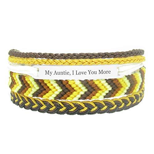 Miiras Familia Pulsera Hecha a Mano - My Auntie, I Love You More - Amarillo - Hecho de Hilo de Bordar y Acero Inoxidable - Regalo para Mi Tia
