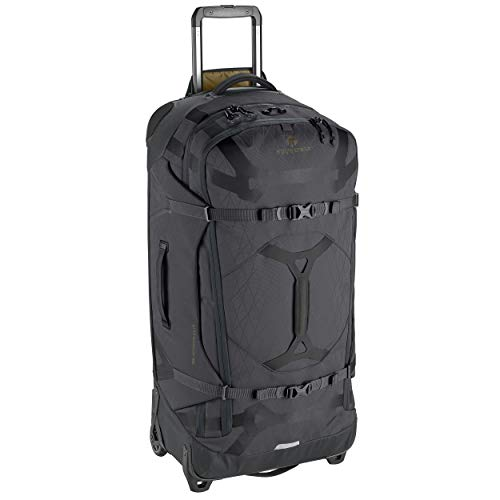Eagle Creek Gear Warrior 110L Rolling Duffle Bag, Wheeled Trolley Bag, Split Roller Bag with Wheels, PET Ripstop Water-resistant Material, Extendable Handle, Jet Black, 40,5 x 82 x 32 cm