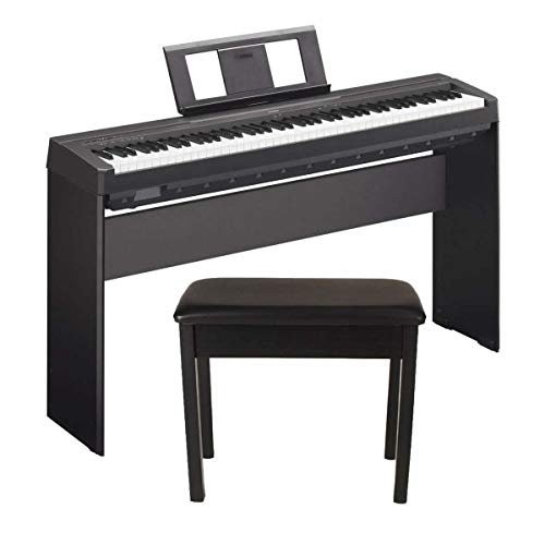 Yamaha P45 88-Key Weighted Action Digital Piano Black with Matching Wooden Stand and Padded Wooden Piano Bench