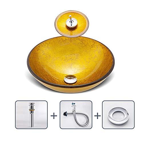 Yhjkvl Tazón de lavabo de baño con grifo de bronce de goma de aceite y desagüe desplegable (color: dorado, tamaño: 42 x 42 x 14,5 cm)