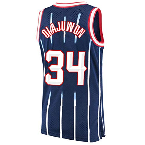 Olajuwon Jersey Men's 34 Jersey Hakeem Basketball Jerseys (S-XXL) (Blue, L)