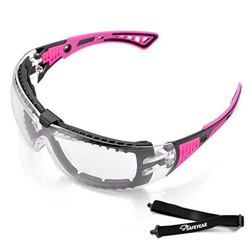 Gafas de Seguridad Para Mujer,con Cinta Ajustable,Gafas Protectoras Rellena de Espuma,Anti-polvo, Estilo Deportivo SG010FM