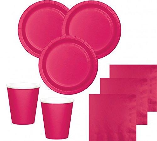36 Teile Party Deko Set Pink Magenta für 8 Personen