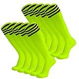 Dsource Unisex Soccer Socks Knee High Stripe Football Tube Socks 10 Pack Fluorescent Yellow