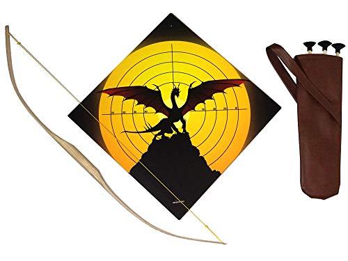 Lummels Kinderbogen Set : Bogen Eschenholz Natur 90 cm mit Köcher aus Kunstleder 40cm, DREI Pfeilen und 40cm x 40cm Grosse Holzzielscheibe
