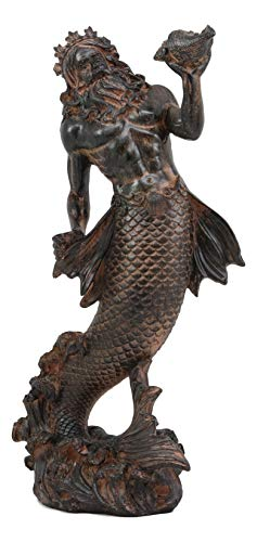 Ebros Greek Mythology God of The Seas and Tremors Merman Poseidon Statue Neptune Holding Ocean Sea Conch Figurine Nautical Coastal Collection Roman Greco Olympian Gods Decor Sculpture