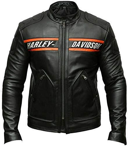 Outfitter Leather Jacket for Men-Harley Davidson Black Biker Genuine Jacket-Slim Fit-Stand Collar-Real Cow Zip Up Jacket