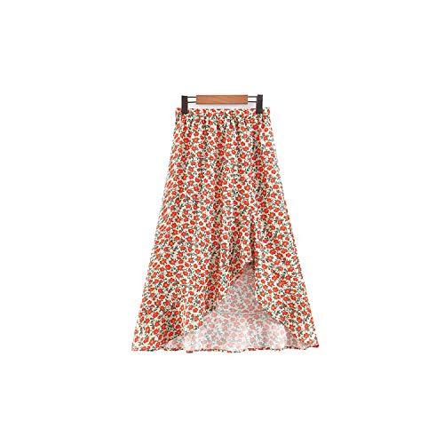 Vrouwen Stijlvolle Bloemen Print Midi Rok Elastische Taille Hem Onregelmatig Ontwerp Vrouwelijke Zomer Chique Rokken