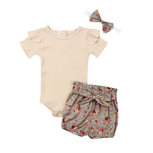 Conjunto de roupas de verão para bebês e meninas com babados + calça curta floral, Z Bege, 0-6 meses