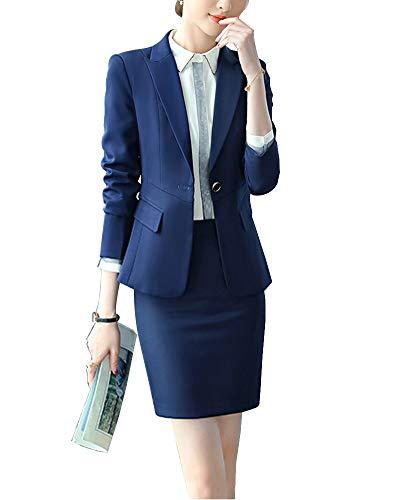 ShiFan Tailleur Donna Elegante Cappotto Ufficio Business Blazer Top Corto Ol Giacca da Abito Blu 1 S