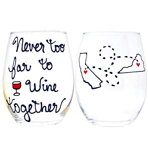 Never too Far to Wine Together Quote - Personalized Long Distance Wine Glass with States and Countries, Friendship Gift, Custom Personalized Long Distance Friendship Gift
