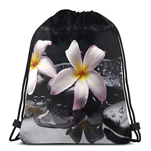 Bolsa de bapa con cordón de piedra de orquídea Zen Garden para deporte, gimnasio, sapa impermeable, para hombres, mujeres, para viajes, yoga, playa, escuela