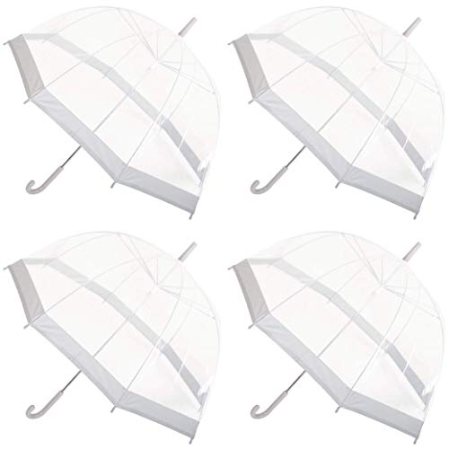 Set van 4 Dames Clear Dome Paraplu Brolly Grijs Kleur Trim