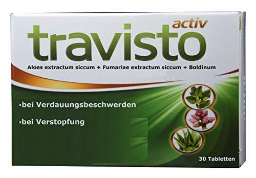Rein pflanzlich, doppelte Wirkung: Aloe ferox Abführmittel; Erdrauch, Boldinum, entkrampft, regt Verdauung, Gallenfluss an; bei Obstipation, Verstopfung, fehlender Entleerung, Travisto aktiv, 30 Tabl.
