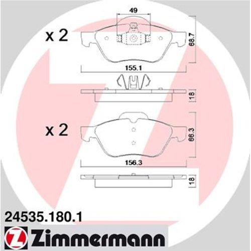 ZIMMERMANN 24535.180.1Serie Bremsbeläge, vorne, inklusive Platte dämpfend
