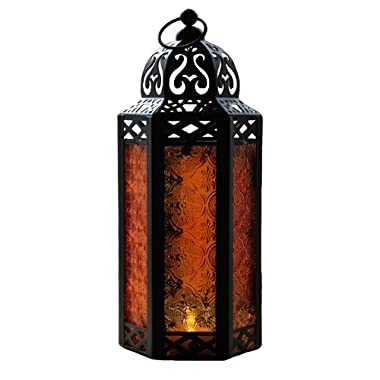 Amber Glass Moroccan Style Candle Lantern - Great for Patio, Indoors/Outdoors, Events, Parties and Weddings