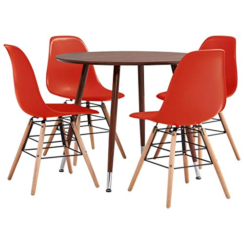 Festnight 5 Piece Dining Set, Kitchen Table and Chairs, Dinner Set Kitchen Dining Set Plastic Red