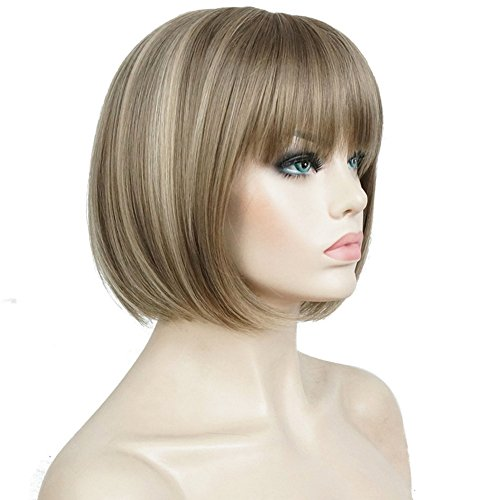 Aimole Short Bob Straight Wig with Cute Flat Bangs Synthetic Hair(24M8+613)