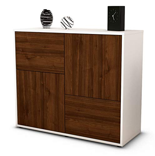 Stil.Zeit Sideboard Carla/Korpus Weiss matt/Front Holz-Design Walnuss (92x79x35cm) Push-to-Open Technik
