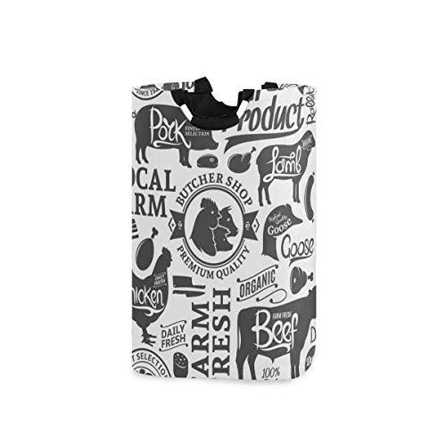 dpcm Cesto de la ropa,Butchery Pattern Food Livestock Meat Drink Farm Sheep Silhouette Ham Animal Baco,Cesta de lavado portátil plegable de gran capacidad con asa, bolsa de almacenamiento