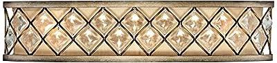"Jeweled Golden Wall Light Bronze Hardwired 25"" Wide Light Bar Fixture Criss Cross Clear Crystal for Bathroom Vanity - Regency Hill"