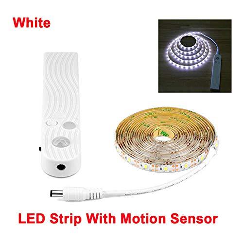 Pir Bewegungsmelder Nachtlicht 1m 2m 3m LED Klebeband wasserdicht DC 5V weiches Licht Barschrank Treppe Küche kleines Nachtlicht, Weiß 2m