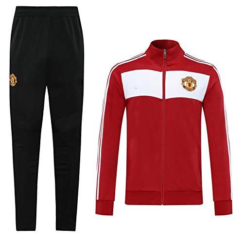 LZMX Football Club Offizielle Fußball Geschenk Manchester United Herren Langarm Jacke + Hosen Sportswear Anzug Trainingsanzug Titel und Feldjacke (Color : F, Size : M)