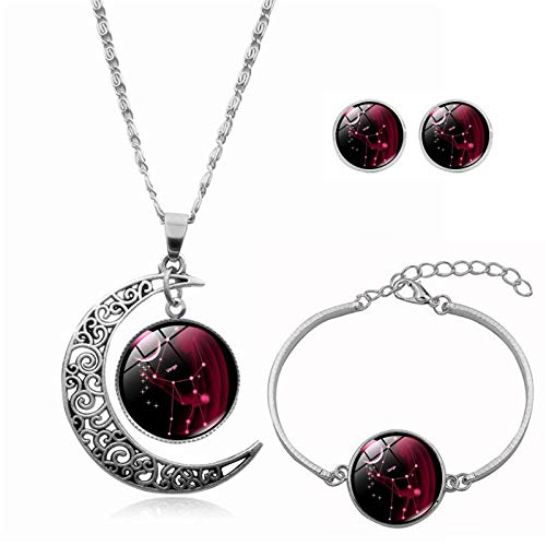 SDCAJA Silver Jewellery Sets for Women 12 Constellation Moon Necklace Earring Sets Valentine's Day Gifts for Wife, Mum and Girlfriend