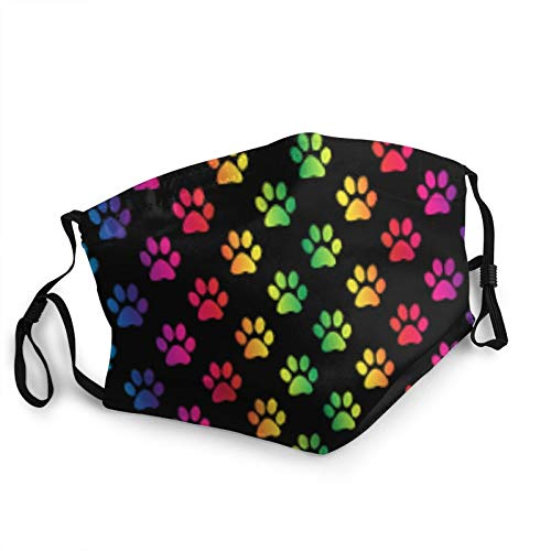 Rainbow Paw Print Face Mask Reusable, Comfortable and Breathable,Adjustable Ear Loops,Adjustable Nose Wire