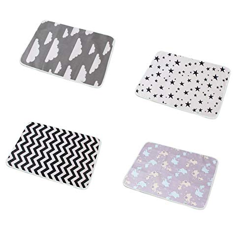GXWBH Pañal portátil, transpirable, impermeable, lavable a máquina, algodón puro, impermeable, cambiador de pañales, esencial para viajes, hogar, paquete de 4 piezas (color: A, tamaño: 50 x 70 cm)