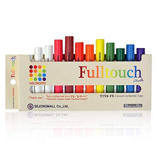 HAGOROMO Fulltouch Color Chalk Non-Toxic - [12 Pcs/10 Color Mix] 1 Box, Assorted Dustless Washable Chalk for Kids, Professional Use, Sidewalk, Chalk Board, Blackboard