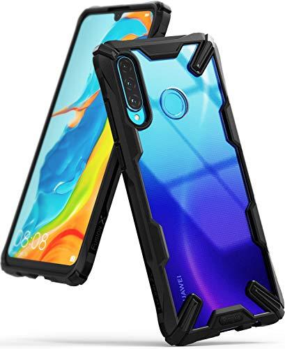 Ringke Fusion-X Compatibile con Cover Huawei P30 Lite Trasparente, Custodia Huawei P30 Lite con Paraurti Protettiva Antiurto TPU, Cover per Huawei P30 Lite (6.15 Pollice) - Black (Nera)