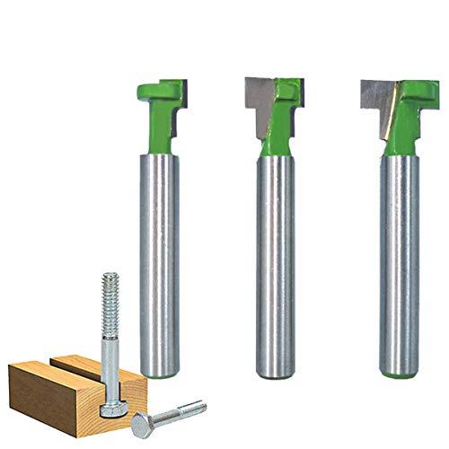 Juego de fresadora de vástago de 1/4 pulgadas, fresadora para madera, fresadora para ranurar, cortador de router de metal duro, juego de brocas en T para la herramienta de carpintería