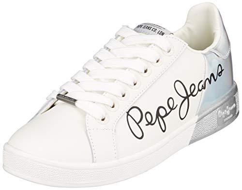 Pepe Jeans London Damen Brompton Mania Sneaker, Weiß (White 800), 40 EU