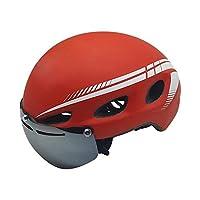 インサート 自転車ヘルメット乗馬マウンテンバイクの交通安全ヘルメット組み込ん磁化されたゴーグル 乗馬ヘルメット (Color : Red, Size : M)