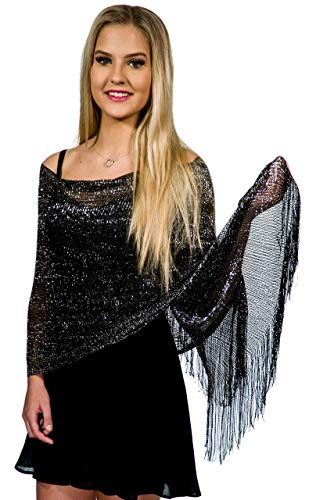 Shawls and Wraps for Evening Dresses, Metallic Glitter Shawls for Women, Sparkling Wedding Black Silver Shawl Gift by ShineGlitz