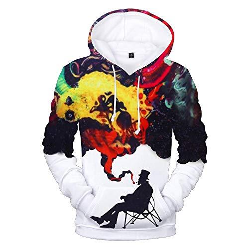CHAOLQ Unisex Hd 3D-Bedruckter Hoodie, Leichtes, Personalisiertes Sweatshirt, Innovative Freizeitkleidung mit Plüschfutter und Großem Taschen-Design-Alter Mann und Rauch_M.
