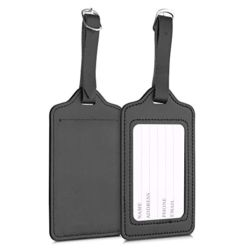 kwmobile Luggage Tags - 2X Synthetic Leather Name Address Cards for Travel Luggage, Suitcases - Black