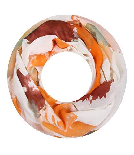 Majea Damen Loop Schal viele Farben tolle Muster Schlauchschal Halstücher (orange 28)