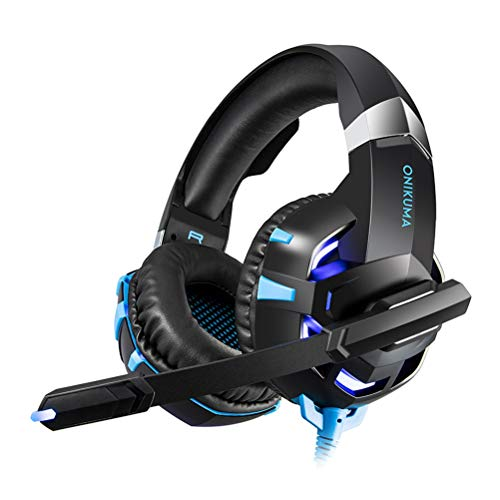 HEALIFTY K2-A Wired Stereo Game Headphones Crystal Clear Sound LED Lights Gaming Headphone with Mic for PS4 Xbox Laptop Computer Cellphone (Blue)