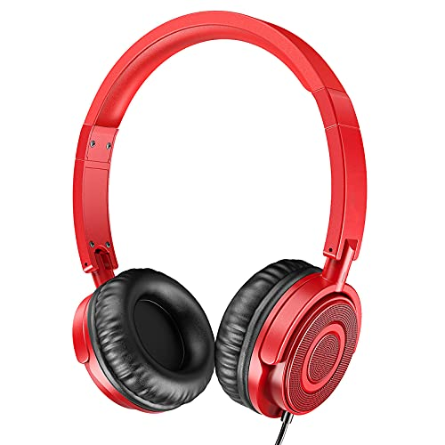 Kopfhörer mit Mikrofon, tragbare, aufklappbare On-Ear-Headsets mit Stereo-Bass, schallisolierendem und verstellbarem Kopfbügel für Erwachsene zu Hause, Büroreisen, Rot