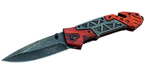 Herbertz Rettungsmesser - Stahl AISI 420 - Liner Lock - rote Pakkaholzschalen - Gurtschneider - Glasbrecher - Clip