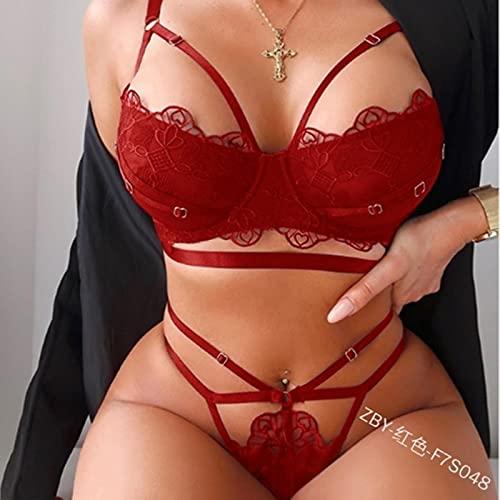YIYI Lencería sexy para mujer ahueca hacia fuera sujetador G-String liguero conjunto floral ropa de dormir exótica 2 unids conjuntos exóticos