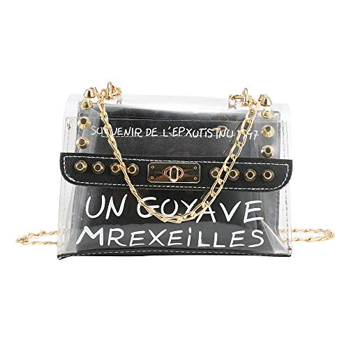 Rokoo Frauen Dame Tasche klar Handtasche Crossbody verbundbeutel transparent PVC Kette Tasche Tote,Composite Bag