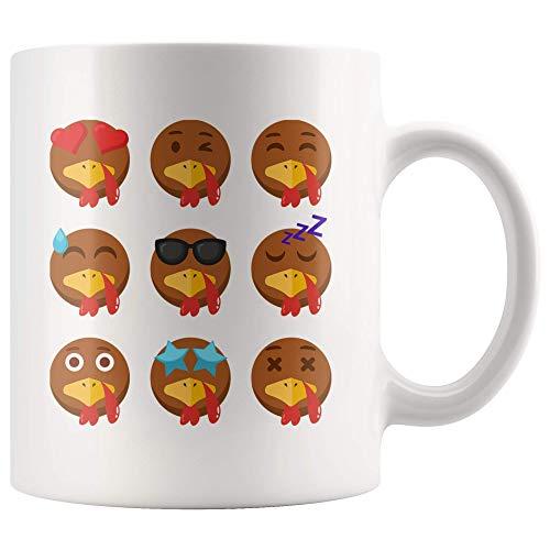 N\A Taza de acción de Gracias de Emojis de Pavo Regalo para Amante de Pavo, Taza de café de Amante de acción de Gracias, Taza de té de acción de Gracias de 11 oz