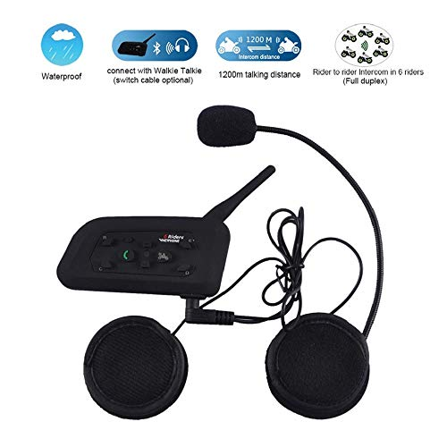 Find Bargain Motorcycle Intercom Bluetooth Helmet Headset V6 1200 Meter Full Duplex Real-Time Motorb...